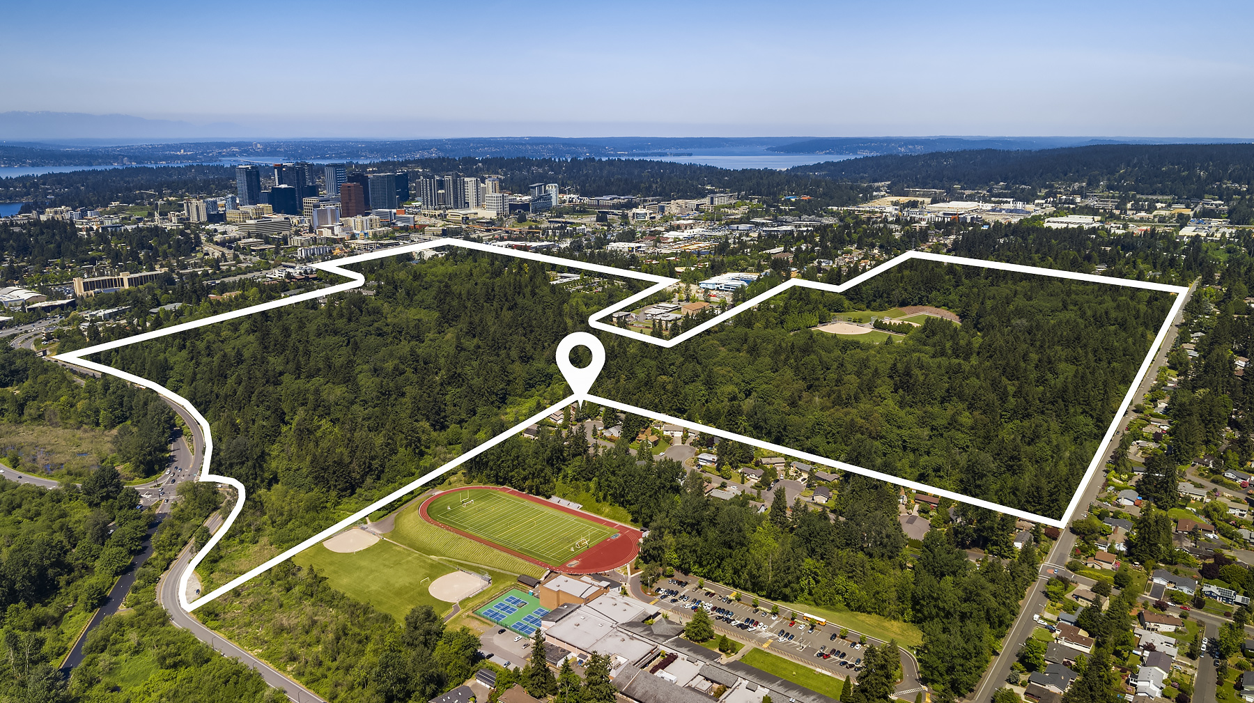 Walk out your back yard onto trails within the 100+ acrea Wilburton Hill Park and Bellevue Botanical Garden. Miles of trails to explore, along with ball fields and playgrounds.
